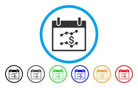 財務グラフ カレンダー日ベクター アイコンを丸められます。画像のスタイルは、青い円の中フラット グレーのアイコンのシンボルです。他の色の