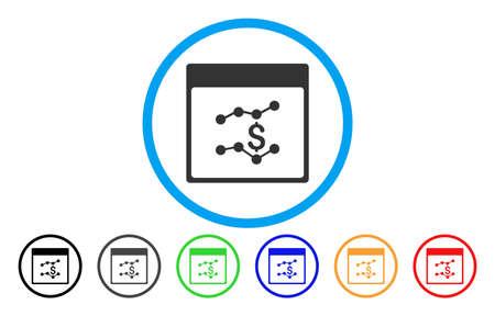 財務グラフ カレンダー ページのベクター アイコンを丸められます。画像のスタイルは、青い円の中フラット グレーのアイコンのシンボルです。ボ