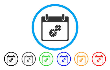 install: Gears Integration Calendar Day vector rounded icon. Image style is a flat gray icon symbol inside a blue circle. Bonus color versions are gray, black, blue, green, red, orange.