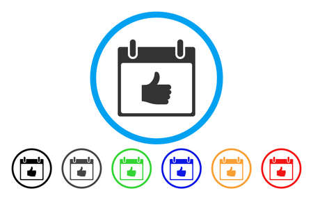 Thumb Up Calendar Day vector rounded icon. Image style is a flat gray icon symbol inside a blue circle. Additional color versions are grey, black, blue, green, red, orange.