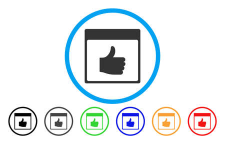 Thumb Up Calendar Page vector rounded icon. Image style is a flat gray icon symbol inside a blue circle. Bonus color versions are grey, black, blue, green, red, orange.