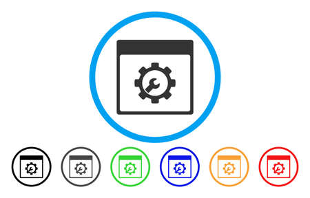 install: Setup Tools Calendar Page vector rounded icon. Image style is a flat gray icon symbol inside a blue circle. Bonus color variants are gray, black, blue, green, red, orange.