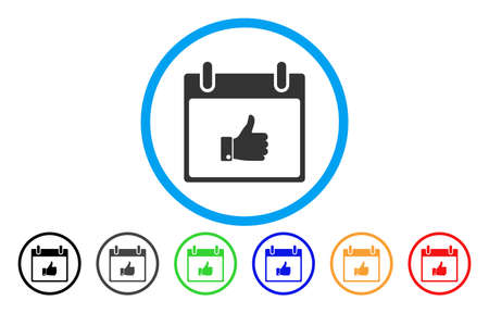 Thumb Up Hand Calendar Day vector rounded icon. Image style is a flat gray icon symbol inside a blue circle. Additional color versions are grey, black, blue, green, red, orange. Illustration