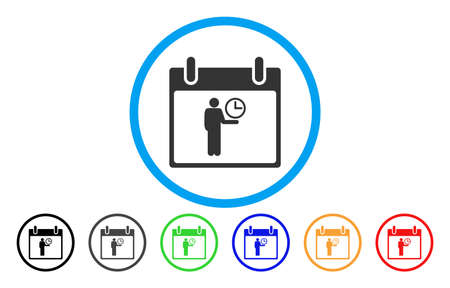 Time Manager Calendar Day vector rounded icon. Image style is a flat gray icon symbol inside a blue circle. Bonus color variants are grey, black, blue, green, red, orange. Illustration