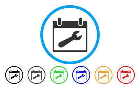 install: Wrench Tool Calendar Day vector rounded icon. Image style is a flat gray icon symbol inside a blue circle. Additional color variants are gray, black, blue, green, red, orange.