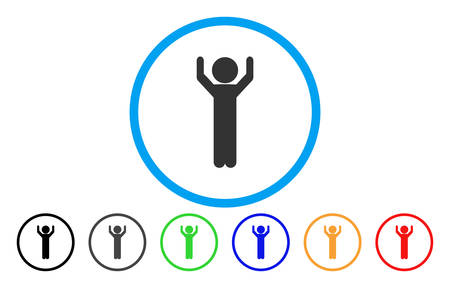 Child Hands Up vector rounded icon. Image style is a flat gray icon symbol inside a blue circle. Bonus color variants are grey, black, blue, green, red, orange. Illustration