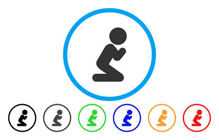 meditation man: Child Pray vector rounded icon. Image style is a flat gray icon symbol inside a blue circle. Additional color variants are gray, black, blue, green, red, orange. Illustration