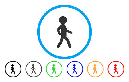 Walking Child vector rounded icon. Image style is a flat gray icon symbol inside a blue circle. Additional color versions are gray, black, blue, green, red, orange.