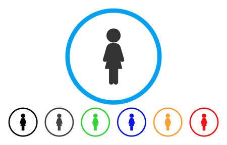 Standing Girl vector rounded icon. Image style is a flat gray icon symbol inside a blue circle. Additional color versions are grey, black, blue, green, red, orange.