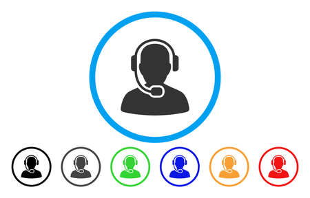 talker: Call Center Operator vector rounded icon. Image style is a flat gray icon symbol inside a blue circle. Bonus color versions are gray, black, blue, green, red, orange.
