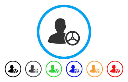 Driver Person vector rounded icon. Image style is a flat gray icon symbol inside a blue circle. Additional color variants are gray, black, blue, green, red, orange.