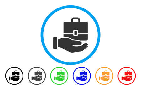 Hand Holding Case vector rounded icon. Image style is a flat gray icon symbol inside a blue circle. Additional color versions are gray, black, blue, green, red, orange.