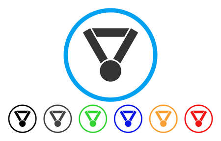 Champion Award vector rounded icon. Image style is a flat gray icon symbol inside a blue circle. Additional color variants are gray, black, blue, green, red, orange.