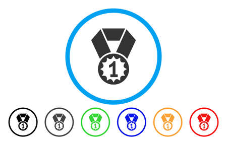 First Place Medal vector rounded icon. Image style is a flat gray icon symbol inside a blue circle. Bonus color variants are grey, black, blue, green, red, orange. Illustration