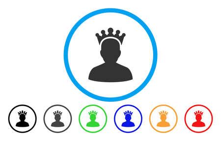 autoridad: Rey vector redondeado icono. El estilo de la imagen es un símbolo gris plano del icono dentro de un círculo azul. Las versiones de color adicionales son gris, negro, azul, verde, rojo, naranja.