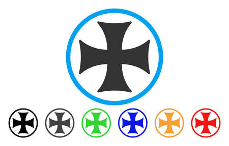 Maltese Cross vector rounded icon. Image style is a flat gray icon symbol inside a blue circle. Additional color versions are grey, black, blue, green, red, orange.
