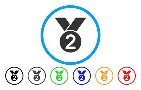 Silver Medal vector rounded icon. Image style is a flat gray icon symbol inside a blue circle. Bonus color versions are grey, black, blue, green, red, orange. Illustration