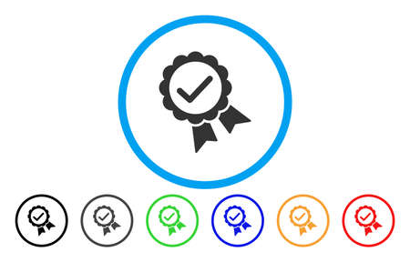 validity: Validity Seal vector rounded icon. Image style is a flat gray icon symbol inside a blue circle