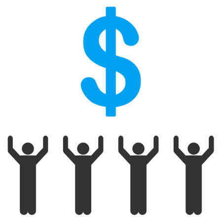 Dollar Religion raster icon. Flat bicolor blue and gray symbol. Pictogram is isolated on a white background. Designed for web and software interfaces. Imagens - 85004428