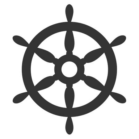 Ship Steering Wheel raster icon. Flat gray symbol. Pictogram is isolated on a white background. Designed for web and software interfaces.