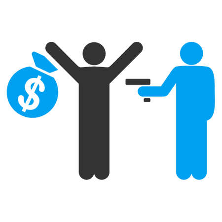 dangerous man: Armed Robbery vector icon. Flat bicolor blue and gray symbol. Pictogram is isolated on a white background. Designed for web and software interfaces.