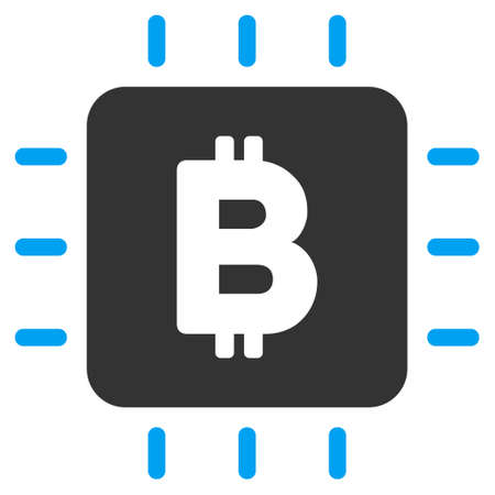 Bitcoin Chip vector icon. Flat bicolor blue and gray symbol. Pictogram is isolated on a white background. Designed for web and software interfaces.