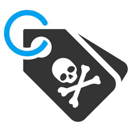 piracy: Death Tags vector icon. Flat bicolor blue and gray symbol. Pictogram is isolated on a white background. Designed for web and software interfaces.