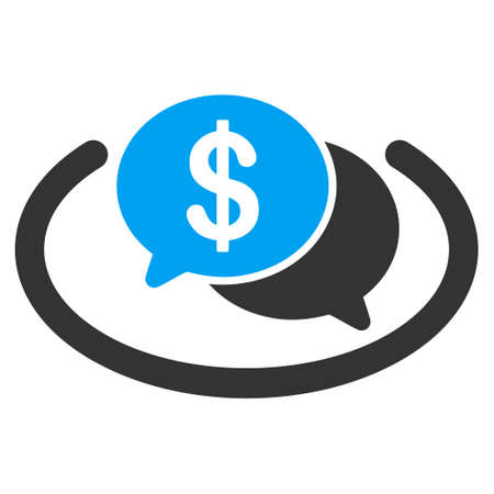 Financial Network Chat vector icon. Flat bicolor blue and gray symbol. Pictogram is isolated on a white background. Designed for web and software interfaces.