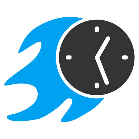 Fire Deadline Clock vector icon. Flat bicolor blue and gray symbol. Pictogram is isolated on a white background. Designed for web and software interfaces. Illustration