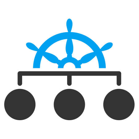 Ship Wheel Hierarchy vector icon. Flat bicolor blue and gray symbol. Pictogram is isolated on a white background. Designed for web and software interfaces.