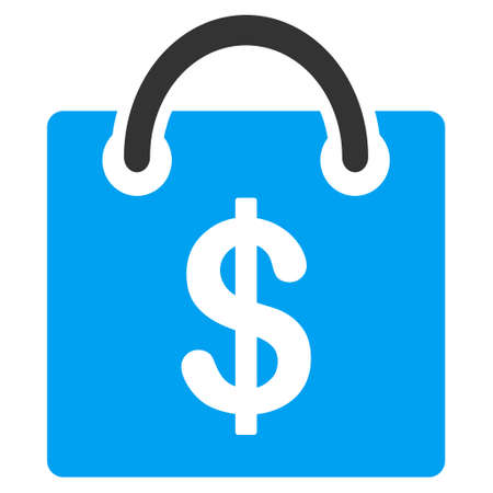 billfold: Shopping Bag vector icon. Flat bicolor blue and gray symbol. Pictogram is isolated on a white background. Designed for web and software interfaces. Illustration