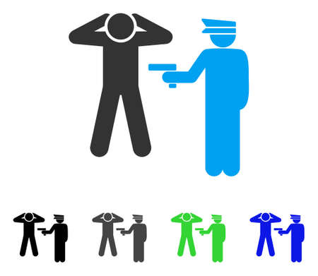 prison guard: Arrest vector pictogram. Style is a flat graphic symbol in black, gray, blue, green color versions. Designed for web and mobile apps. Illustration