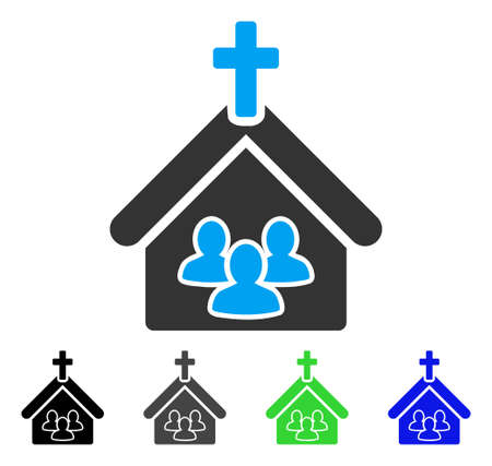 Church People vector pictogram. Style is a flat graphic symbol in black, grey, blue, green color versions. Designed for web and mobile apps.