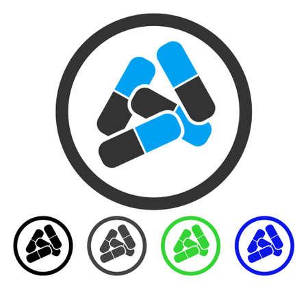 薬の丸薬ベクター絵文字.スタイルは、ブラック、グレー、ブルー、グリーンのカラーバリエーションでフラットなグラフィックシンボルです。ウェ  イラスト・ベクター素材
