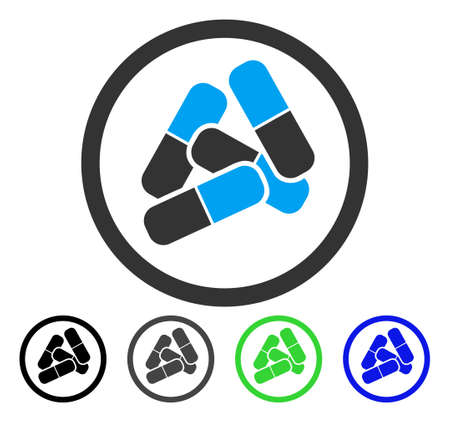 Drugs Pills vector pictograph. Style is a flat graphic symbol in black, grey, blue, green color variants. Designed for web and mobile apps. Stock Illustratie
