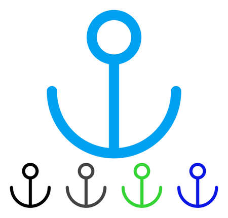 Anchor vector pictogram. Style is a flat graphic symbol in black, grey, blue, green color variants. Designed for web and mobile apps. Illustration