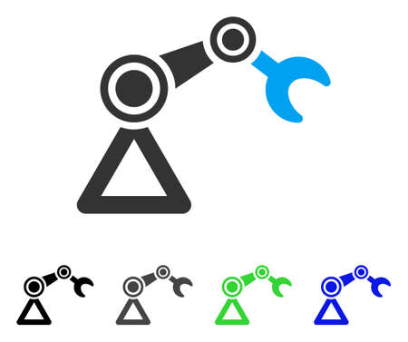 Pictogramme de vecteur robotique manipulateur. Le style est un symbole graphique plat dans les versions de couleur noire, grise, bleue et verte. Conçu pour les applications web et mobiles.