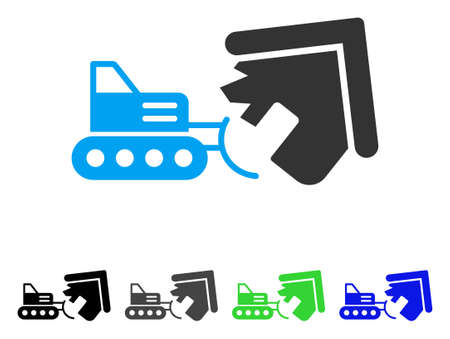 House Demolition vector pictogram. Style is a flat graphic symbol in black, gray, blue, green color variants. Designed for web and mobile apps.