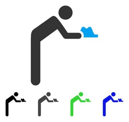 Servant Person vector pictogram. Style is a flat graphic symbol in black, grey, blue, green color variants. Designed for web and mobile apps. Illustration
