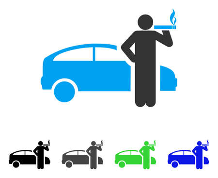 cigar smoking man: Smoking Taxi Driver vector pictogram. Style is a flat graphic symbol in black, grey, blue, green color versions. Designed for web and mobile apps.