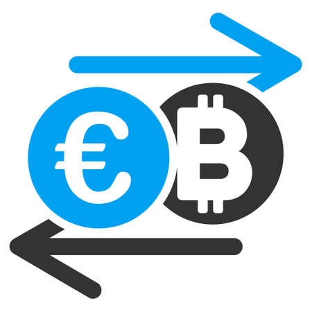 Euro Bitcoin Change raster icon. Style is flat graphic symbol.