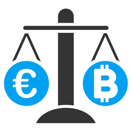 Euro Bitcoin Balance Weight vector icon. Style is flat graphic symbol.