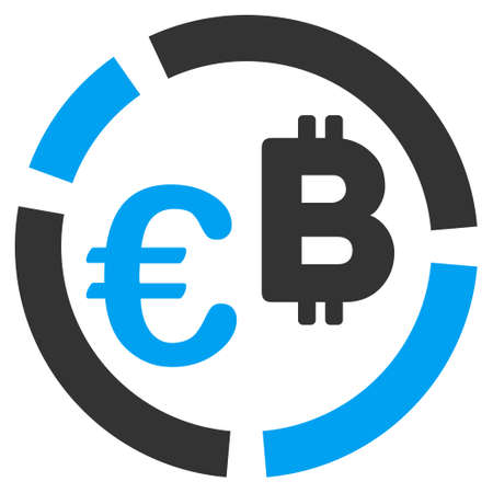 Euro Bitcoin Diagram raster pictogram. Style is flat graphic symbol.