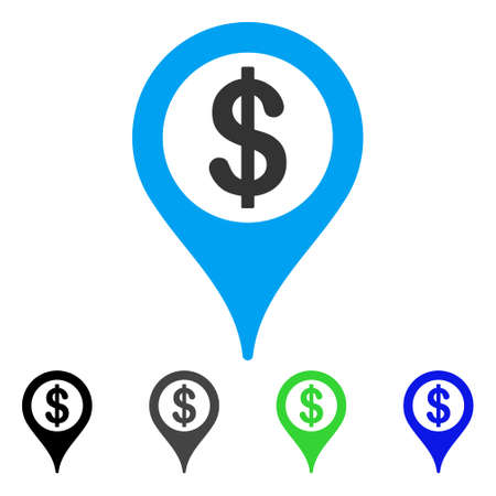 Bank Map Marker vector pictograph. Style is a flat graphic symbol in black, gray, blue, green color versions. Designed for web and mobile apps. Illustration