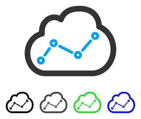 Chart Cloud vector pictogram. Style is a flat graphic symbol in black, grey, blue, green color versions. Designed for web and mobile apps. Illustration
