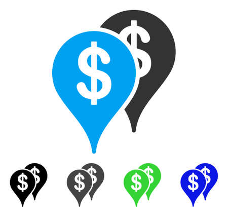 Bank Map Pointers vector pictogram. Style is a flat graphic symbol in black, gray, blue, green color variants. Designed for web and mobile apps.