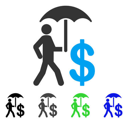 Banker Umbrella Protection vector pictogram. Style is a flat graphic symbol in black, grey, blue, green color variants. Designed for web and mobile apps. Illustration