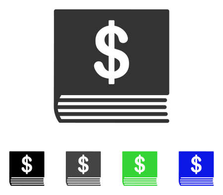 Dollar Accounting Book vector pictograph. Style is a flat graphic symbol in black, grey, blue, green color versions. Designed for web and mobile apps.
