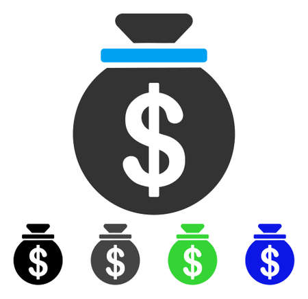 Dollar Money Bag vector pictogram. Style is a flat graphic symbol in black, grey, blue, green color versions. Designed for web and mobile apps.