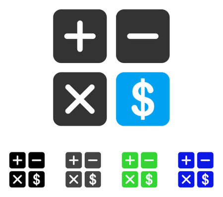 Financial Calculator vector icon. Style is a flat graphic symbol in black, gray, blue, green color versions. Designed for web and mobile apps. Illustration